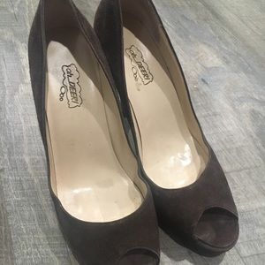 """Brown Suede 4"""" heels with red bottom"""